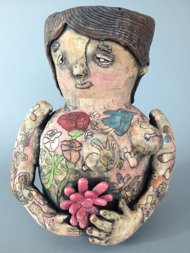 Tattooed lady vase