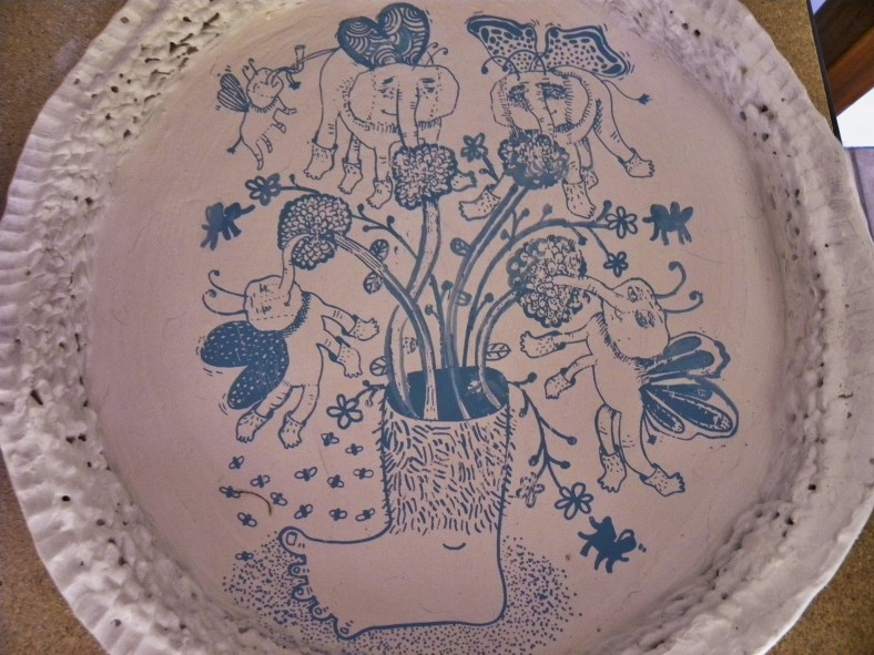Unfired Clay plate with screen