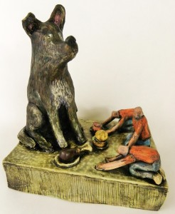 The dog in this piece is based entirely on the newest edition to the family Pup-pup.  I think the rest of this sculpture is pretty self explanatory.
